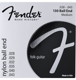 Fender .028-.043 Megium Gauge Nylon Acoustic Strings, 130 Clear/Silver, Ball End