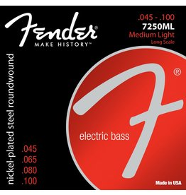 Fender .045-.100 Meduim Light Gauge Electric Bass Strings, Nickel Plated Steel, Long Scale, Set of 4