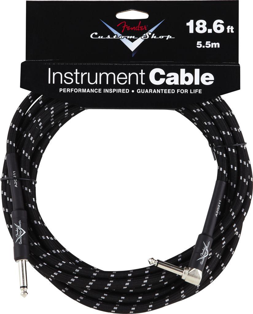Fender Fender® Custom Shop Performance Series Cable, 18.6', Angled, Black Tweed