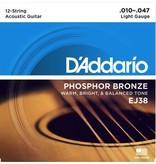 D'Addario EJ38 12-String Phosphor Bronze - Light