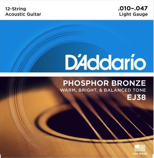 D'Addario EJ38 12-String Phosphor Bronze - Light