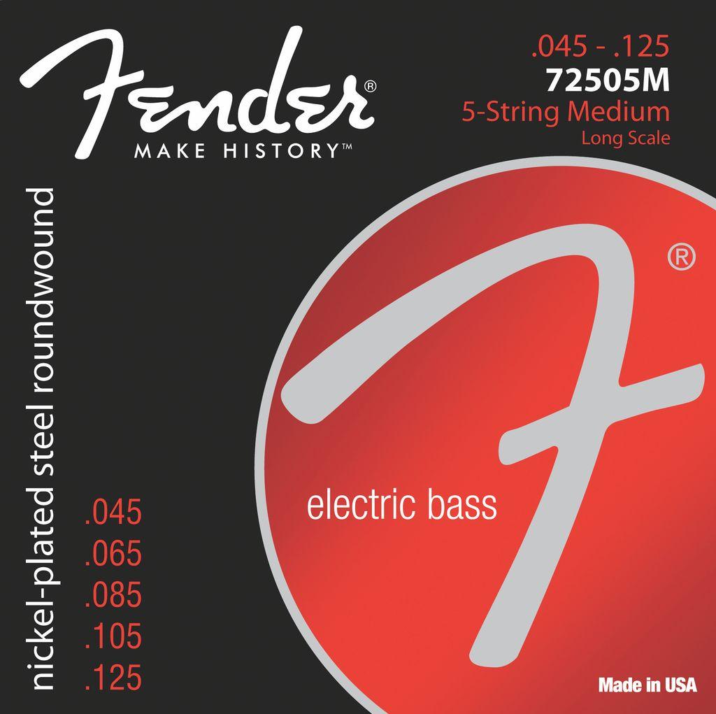 Fender 7250 Super Bass Strings, Nickel Plated Steel, Long Scale, 7250-5M .045-.125 Gauges, Set of 5