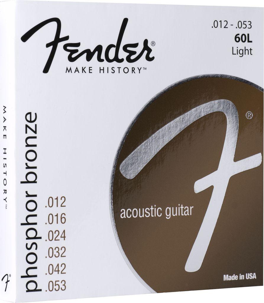 Fender Phosphor Bronze Acoustic Guitar Strings, Ball End, 60L .012-.053 Gauges, Set of 6