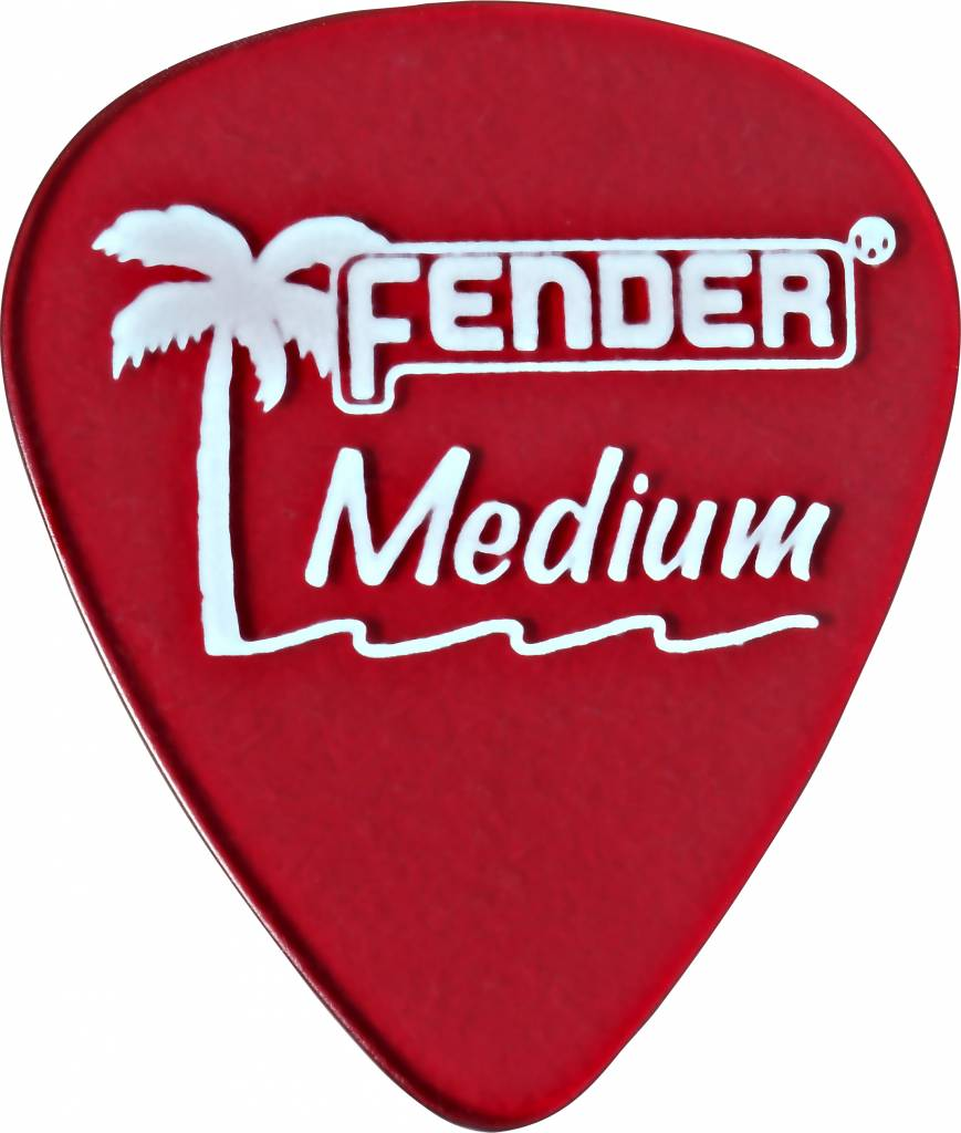 Fender California Clear Picks, 12 Pack, Medium, Candy Apple Red