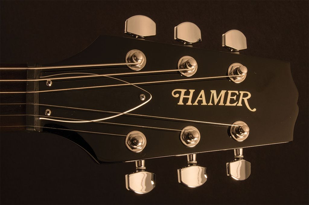 """Hamer Hamer """"The Archtop"""" Double-Cutaway, Carved Flame Top, Tune-o-matic bridge, Trans Black"""