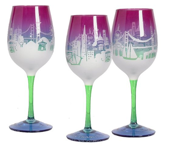 SF Twilight Skyline Wine Glass