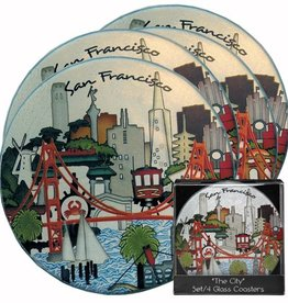 The City Round Glass Coasters