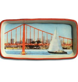 Sail Boat & Bridge, Watercolor, Large Trinket Tray
