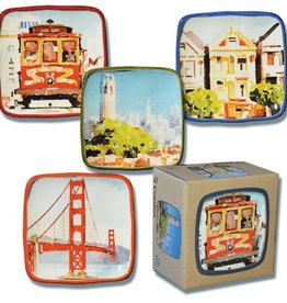 Set of 4 Watercolor Ceramic Coasters