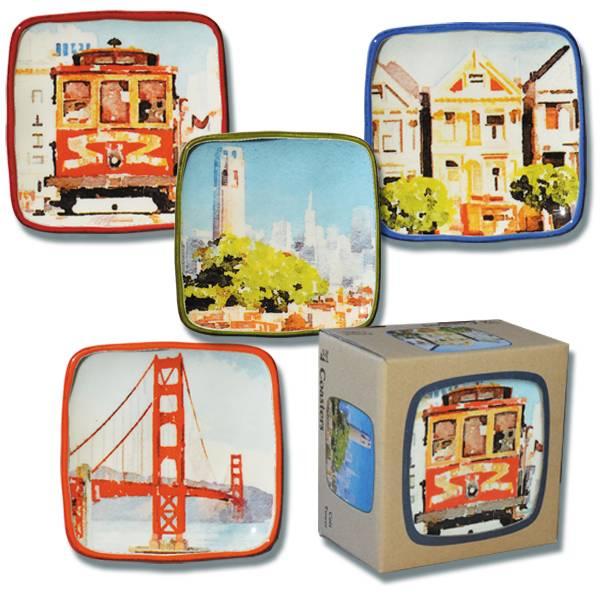 Set of 4 Watercolor Ceramic Coasters