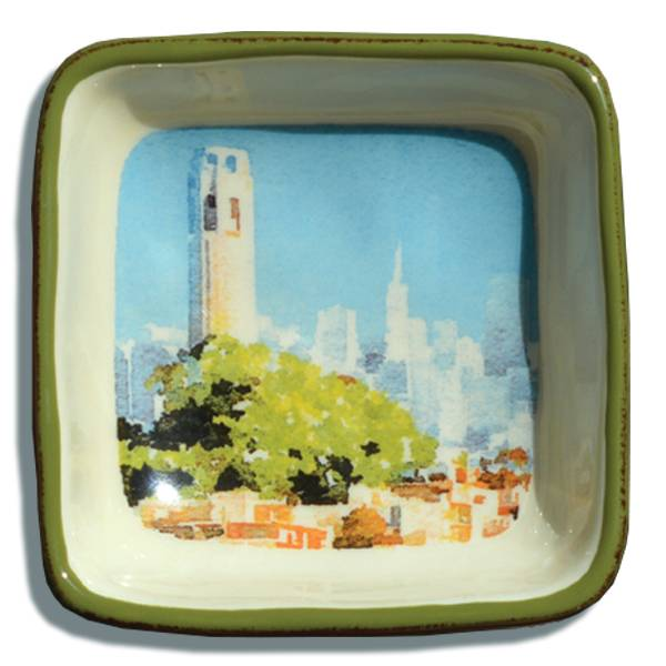 Coit Tower, Watercolor, Small Trinket Tray