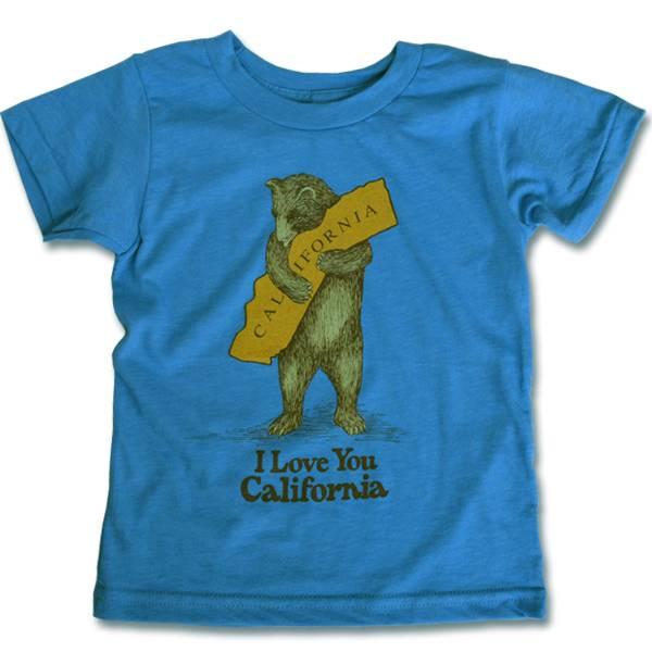Kids Vintage Bear Hug Tee, Neon Blue