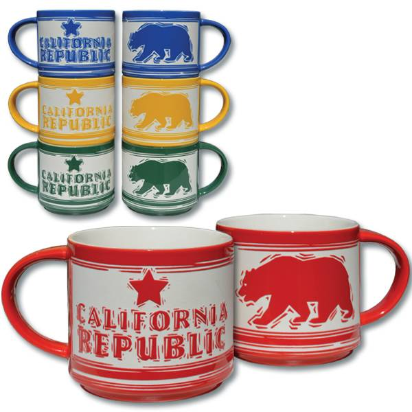 Etched California Republic Bear Mug