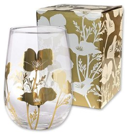 CA Metallic Gold Stemless Poppy Wine Glass