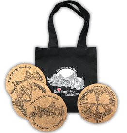 SF Peace Cork Coaster Set 4 in bag