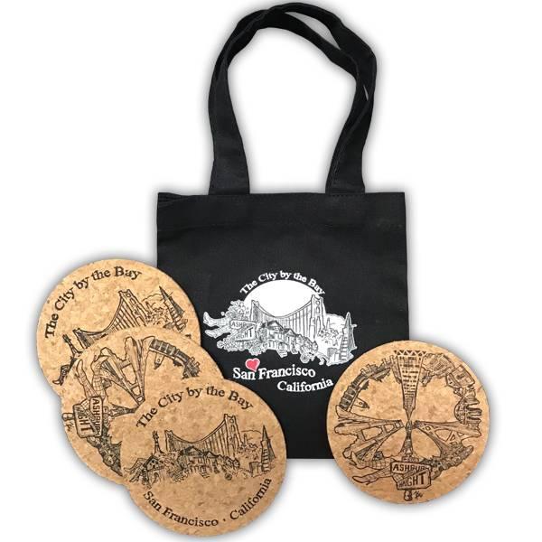 SF Peace Cork Coaster Set 4 in bag