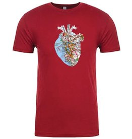 SF Mercantile SF Bay Area Map Heart Tee, Cranberry, Unisex