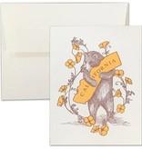 Letterpress Poppy Bear Note Card