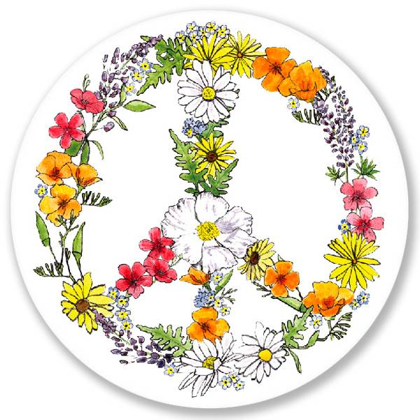 California Native Flower Peace Sign Sticker