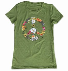 CA Floral Peace Sign - Women's Tee, Green