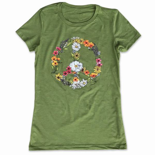 CA Floral Peace Sign Women's Tee, Green