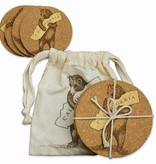 Set/4 CA Bear Cork Coasters in Drawstring Pouch