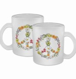 Floral Peace Frosted Glass Mug