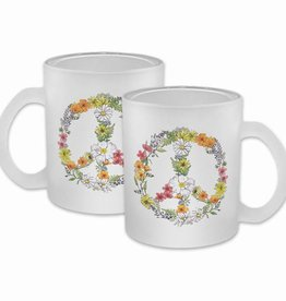 Floral Peace Frosted Glass Mug - Available approx. 7/15/18