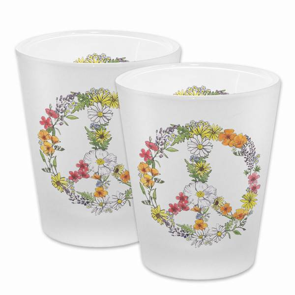 Floral Peace Frosted Shot Glass