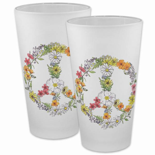 Floral Peace Frosted Pint Glass