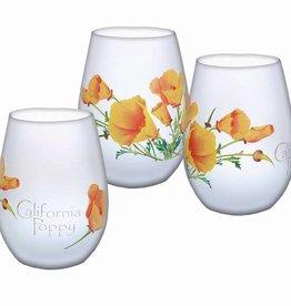 California Poppy Stemless Wine Glass