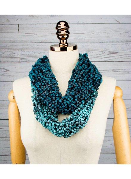 Jianhui London Teal & Black Crochet Snood