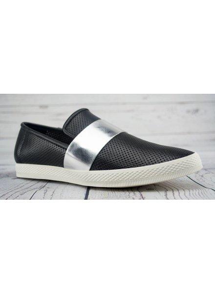 All Black Banded Pindot Slip-on