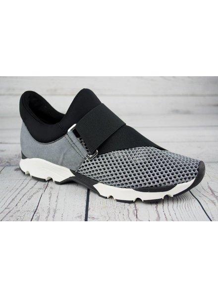 All Black Buckle Wrap Sneaker