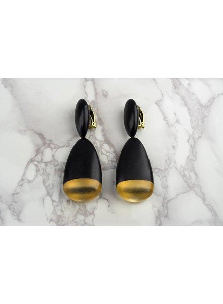 Monies Ebony Gold Leaf Earring