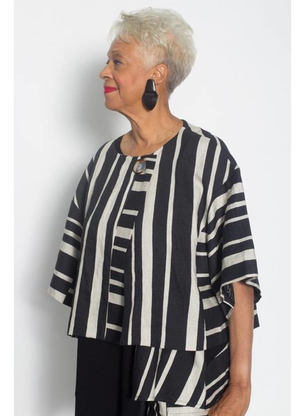 Alembika Linen Blend Wide Stripe Jacket