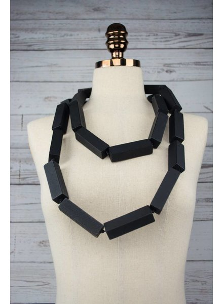 Jianhui London Rubber & Wooden Tube Necklace