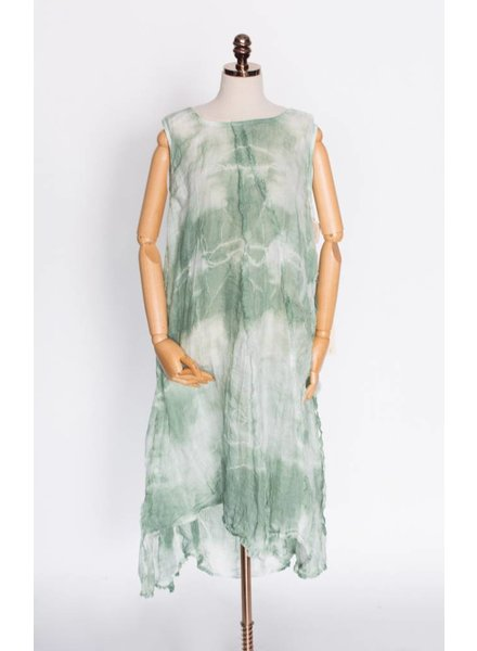 Krista Larson Billowy Slip Tie-Dress Jade Shibori