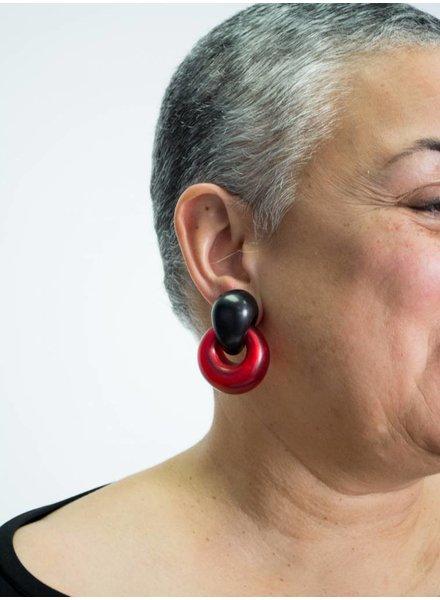 Monies Ebony & Red Resin Earring
