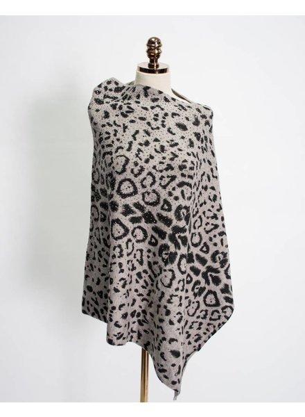 La Fiorentina Embellished Leopard Poncho