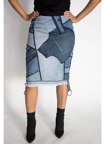 Rock N Karma Denim Remix Skirt