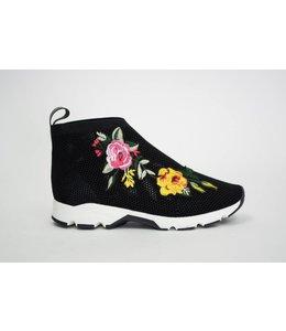 All Black Flower Mesh Bootie