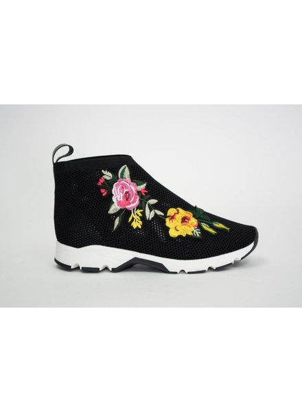 All Black Flower Mesh Bootie
