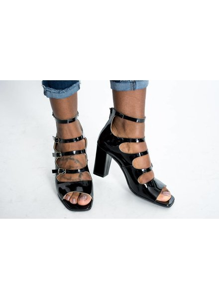 All Black Quad Strap Patent Sandal
