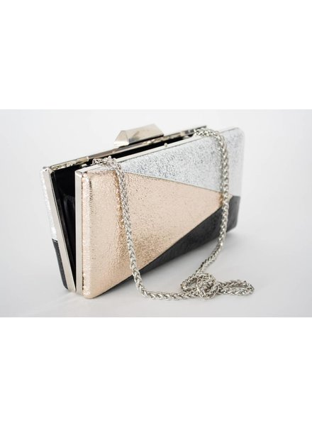 Sondra Roberts Metallic Geometric  Clutch