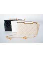 Sondra Roberts Quilted Patent Clutch
