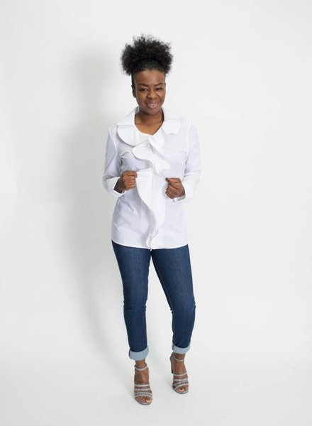 Samuel Dong Solid Ruffle Blouse