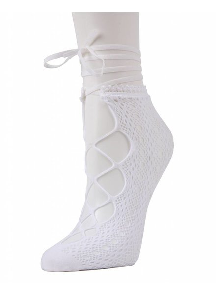 MeMoi Lace-Up Net Socks