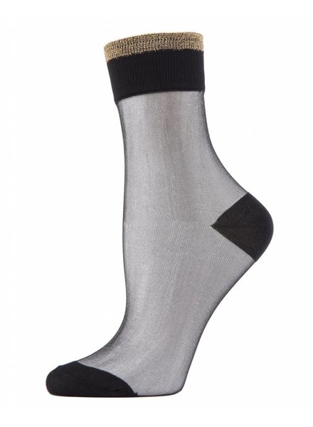 MeMoi Metallic Tipped Sheer Ankle Sock