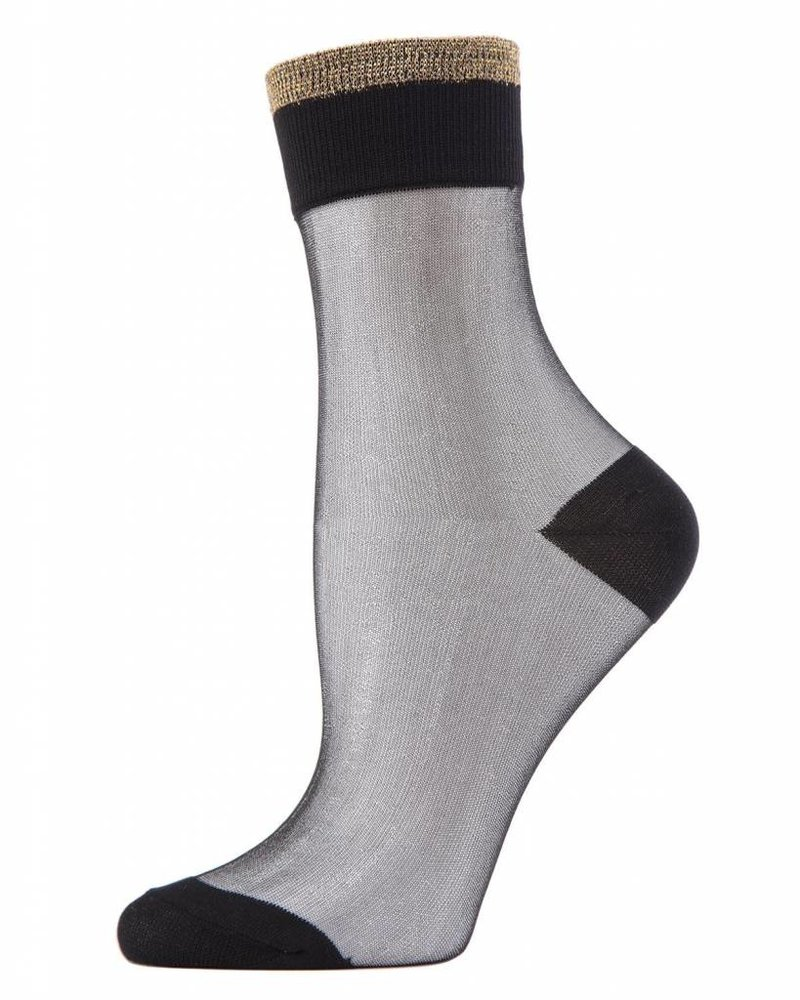MeMoi MeMoi Metallic Tipped Sheer Ankle Sock